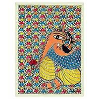 Madhubani painting, 'Ganesha the Wise Deity' - Original Madhubani Painting of Ganesha from India