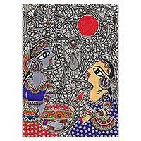 Madhubani painting, 'Friendship III' - Madhubani Painting of Two Friends from India