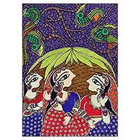 Madhubani painting, 'Friendship' - Colorful Madhubani Painting of Three Women from India