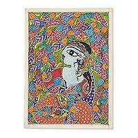 Madhubani Painting, 'Mermaid I' - Madhubani Painting of a Mermaid with Fish from India