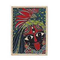 Madhubani painting, 'Kali Ma–The Destroyer' - Madhubani Painting of Hindu Goddess Kali Ma from India