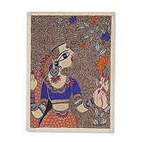 Madhubani painting, 'Nature's Love' - Madhubani Painting of a Woman with Flowers from India