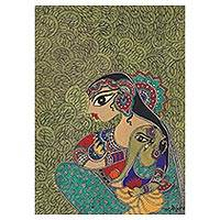 Madhubani painting, 'Mother and Child I' - Hindu Madhubani Painting of Parvati and Ganesha from India