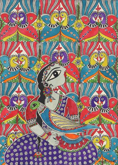 Madhubani Painting of a Woman with Birds from India