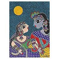Madhubani painting, 'Benevolent Krishna and Radha I' - Hindu Madhubani Painting of Krishna and Radha from India