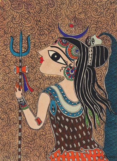 Madhubani painting, 'The Undisputed Lord Shiva' - Signed Madhubani Painting of Lord Shiva from India