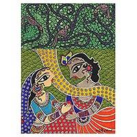 Madhubani painting, 'Benevolent Krishna and Radha II' - Signed Madhubani Painting of Krishna and Radha