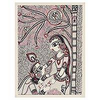 Madhubani painting, 'Benevolent Krishna and Radha III' - Black and White Madhubani Painting of Krishna and Radha