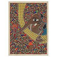 Madhubani painting, 'Remover of Obstacles I' - Madhubani Painting of Ganesha from India