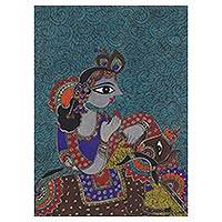 Madhubani painting, 'Krishna the Cowherd' - Madhubani Painting of Hindu God Krishna from India