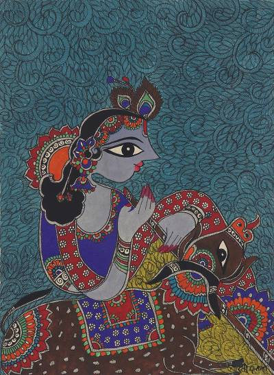 Madhubani Painting of Hindu God Krishna from India