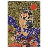 Madhubani painting, 'Remover of Obstacles II' - Signed Madhubani Painting of Hindu God Ganesha from India