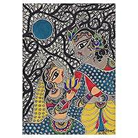 Madhubani painting, 'Love Story—Krishna and Radha' - Madhubani Painting of Krishna and Radha from India