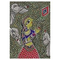 Madhubani painting, 'Freedom' - Madhubani Painting of a Woman with a Kite from India