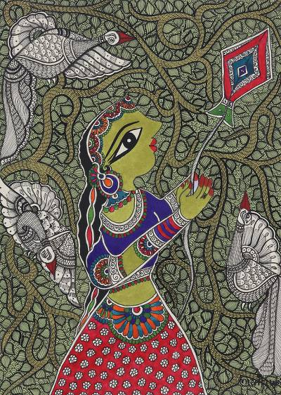 Madhubani Painting of a Woman with a Kite from India