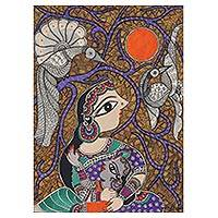 Madhubani painting, 'Mother and Child IV' - Mother and Child Hindu Madhubani Painting from India