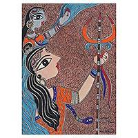 Madhubani painting, 'The Beloved Shiva and Parvati' - Madhubani Painting of Shiva and Parvati from India