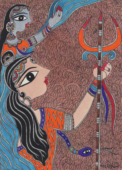 Madhubani Painting of Shiva and Parvati from India
