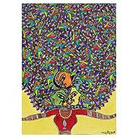 Madhubani painting, 'Seasons' - Creative Madhubani Painting of Tree and Birds from india