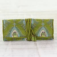 Cotton jewelry roll, 'Light Olive Keeper' - Light Olive Cotton Jewelry Roll Crafted in India