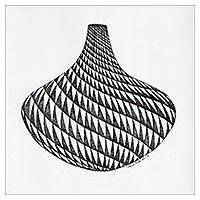 'The Pot I' - Black and White Ink Painting of a Vase from India