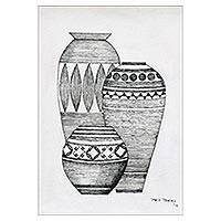 'The Pot II' - Signed Ink Painting of Three Pots from India