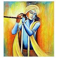 'Benevolent Krishna' - Signed Expressionist Painting of Lord Krishna from India
