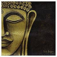 'Calmness' - Gold-Tone Buddhist Portrait Painting from India