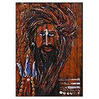 'Sadhu the Hermit II' - Expressionist Painting of a Sadhu in Red from India