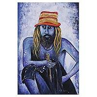 'Sadhu the Hermit IV' - Expressionist Painting of a Sadhu in Blue from India