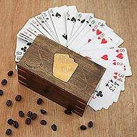 Wood decorative box and playing card set, 'Cosmopolitan Player' - Mango Wood Brass Inlay Decorative Box and Playing Card Set