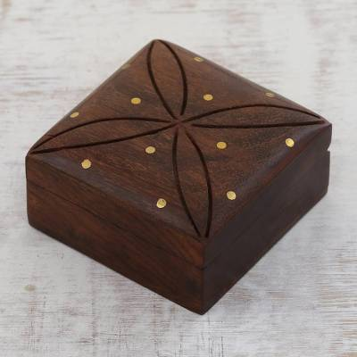 Wood decorative box, 'Refined Symmetry' - Mango Wood with Brass Dot Inlay Decorative Hinged-Lid Box