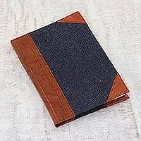 Leather accent cotton journal, 'Captured Thoughts' - Cotton Denim Leather Accent Journal Handmade Cotton Pages