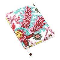 Cotton journal, 'Psychedelic Forest' - Psychedelic Floral Cotton Journal Handcrafted in India