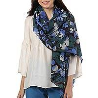 Wool shawl, 'Delight of Spring' - Blue and Green Floral Motif Wool Shawl from India