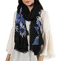 Wool shawl, 'Late Night Blossom' - Floral Motif Screen-Printed Wool Shawl from India