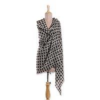 Wool shawl, 'Midnight Kites' - Geometric Printed Wool Shawl Crafted in India
