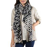 Wool shawl, 'Midnight Saga' - Navy and Bone Printed Wool Shawl from India