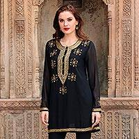 Beaded tunic, 'Sheer Dazzle in Black' - Hand Embroidered Beaded Black Semi-Sheer Long Sleeve Tunic