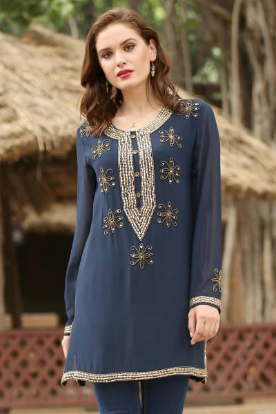 Beaded tunic, 'Sheer Dazzle in Navy' - Hand Embroidered Beaded Navy Semi-Sheer Long Sleeve Tunic