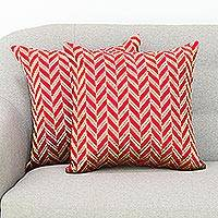 Embroidered cushion covers, 'Elegant Chevron' (pair) - Red and Gold-Tone Chevron Motif Cushion Covers (Pair)