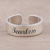 Sterling silver wrap ring, 'Be Fearless' - Handcrafted Sterling Silver Wrap Ring from India