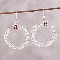 Garnet cocktail ring, 'Radiant Crescent' - Garnet and CZ Dangle Earrings from India