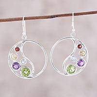 Multi-gemstone dangle earrings, 'Sparkling Loop' - Circular Multi-Gemstone Dangle Earrings from India
