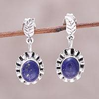 Lapis lazuli dangle earrings, 'Blue Ribbon Flower' - Lapis Lazuli and Sterling Silver Flower Dangle Earrings