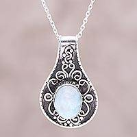 Larimar pendant necklace, 'Heavenly Sea' - Larimar and Sterling Silver Scrollwork Pendant Necklace