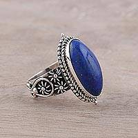 Lapis lazuli cocktail ring, 'Vast Sky' - Oval Lapis Lazuli and Sterling Silver Cocktail Ring