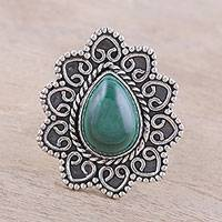 Malachite cocktail ring, 'Tremendous' - Malachite Teardrop and Sterling Silver Scrolls Cocktail Ring