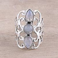 Rainbow moonstone cocktail ring, 'Enrapture' - Rainbow Moonstone Trio and Sterling Silver Cocktail Ring