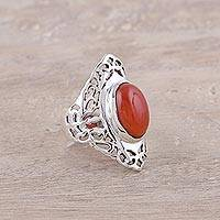 Carnelian cocktail ring, 'Enchanted Fire' - Oval Carnelian and Sterling Silver Openwork Cocktail Ring